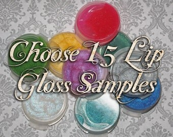 Lip Gloss Samples: Choose Fifteen (15) Sample Lip Glosses, Glitter Lip Glaze, VEGAN Cosmetics, Ships Out in 4-7 Days