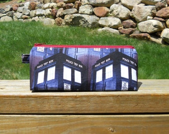Pencil Case, Tardis Pencil Bag, Doctor Who, Tardis Blue, Washable Pencil Pouch, One of a Kind