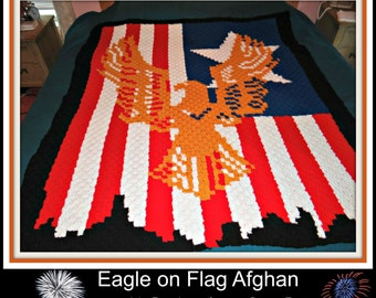 C2C Graph, Eagle C2C, Eagle on Flag Afghan, C2C Graph, & Written Word Chart, Eagle Afghan, Patriotic Afghan