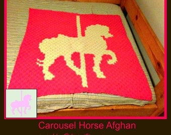 C2C Graph, Carousel Horse Baby Afghan C2C Graph and Written Word Chart