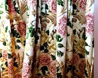 """DRAPES ... The Most Fabulous Antique Drapes 2 Panels Satin Floral 42""""w Top 88"""" Long"""