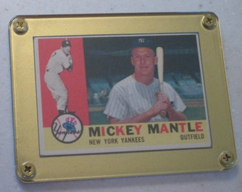 new just in 1960 topps mickey mantle #350 awesome vg card only 1 available in a gold screwdown case