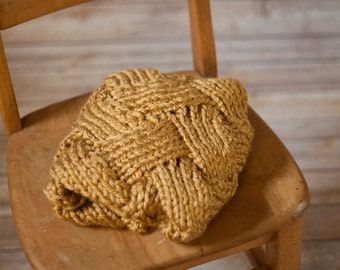Mini blanket, newborn prop, mini wheat blanket, knitted basket stuffer blanket, newborn photography, basket stuffer, layering blanket,