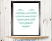 Musical notes printable, Heart Printable, Mint green prints, Love printable art, Romantic prints, Music printables, Pastel poster wall decor