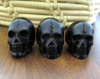 Large skull, Drilled top to bottom,Buffalo  horn carving, Jewelry making supplies S6957