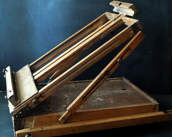 Antique French Travel Portable sketching Easel .Wooden Folding Artist Painters tripod with paintbox