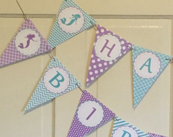 SWEET MERMAID  Party Happy Birthday or Baby Shower Party Banner Teal Lavender - Party Packs Available