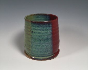 Small Tumbler - Wine Cup - Juice Cup - Bourbon Tumbler - Brick Red and Jade Green - Ready to Ship- ceramics - pottery - stoneware
