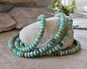 "6 mm Soft Green Blue Turquoise BeadMeduim Rondelle 16"" Natural Gemstones"