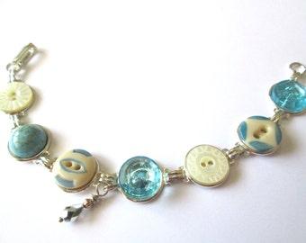 Aqua vintage button bracelet. 1800s buttons, silver links