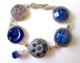 BLUE vintage button bracelet, all glass buttons, silver links. OOAK