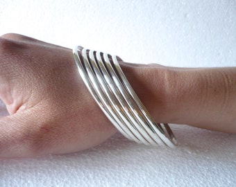 sterling silver handmade solid half round bangle