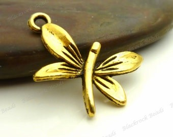 6 Dragonfly Charms 14x22mm Antique Gold Tone Metal - Jewelry Pendants - BC9