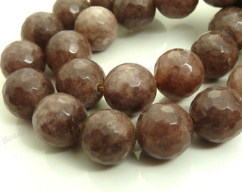 10mm Raw Umber Brown Jade Faceted Gemstone Beads - 19pcs - BC18