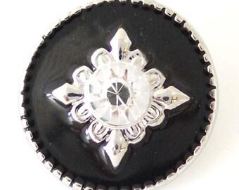 1 PC 18MM Black Rhinestone Silver Snap Candy Charm kb8217 CC1494