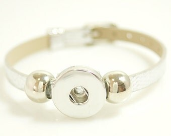 """1 Silver Faux Leather Buckle Bracelet - 5-7"""" FITS 18MM Candy Snap Charm Jewelry Silver kb0995 CJ0269"""