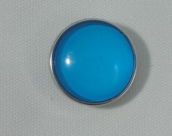 1 PC 18MM Bright Blue Glass Dome Silver Candy Snap Charm Limited Edition CC0077