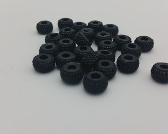 25 Beads - 10x5mm Black Rondelle Resin Crystal Beads BD0140