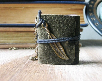Book  jewelry necklace for women mini book leather hand stitched miniature journal  eco friendly feather jewelry sewn book