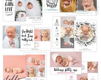 INSTANT DOWNLOAD - Photoshop Birth announcement templates bundle -  e1285