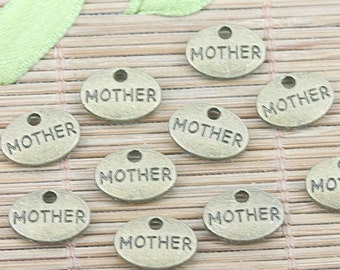 Mother Charm 1 Charm Oval Antique Bronze Tone Double Sided 11 x 9 mm U.S Seller - sc317