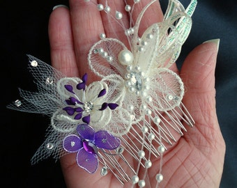 Bridal Hair Comb, Butterfly Comb, Butterfly Headpiece, Wedding Accessory