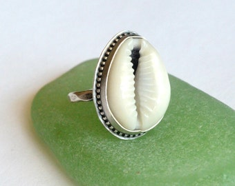 Queen Cowrie Shell Ring- Sterling Silver. Made to Order. Cowry Shell Ring.