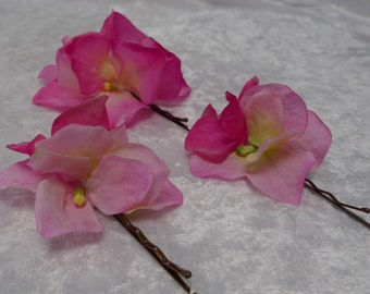 A set of three pink hydrangea fabric hair pins, Also available in lilac and ivory