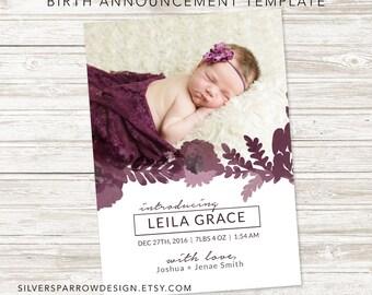 Birth Announcement Template for Photographers, Watercolour Design, Photoshop Template, Floral Design, INSTANT DOWNLOAD