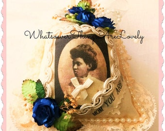 African American Vintage Photo Sachet, Handmade Sachets, Black Ladies on Sachets, OOAK Holiday Ornaments