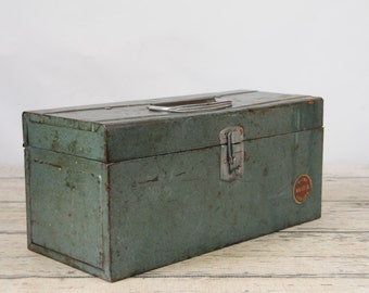 Vintage Tool Box Wards Master Quality Industrial Metal Box Metal Vintage Storage