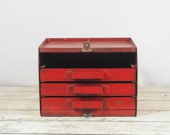 Vintage Metal Tool Box Machinist Mechanics Toolbox Machinist Box Tackle Box Toolbox