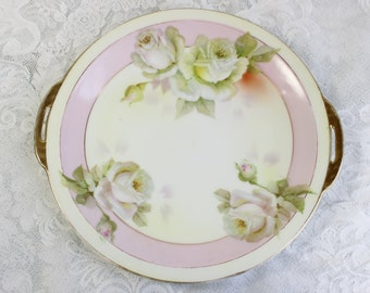 Hand painted cake plate/ bread plate- Antique/ vintage China- White roses, pale pink, gold trim- Royal Rudolstadt, Prussia- Fine porcelain