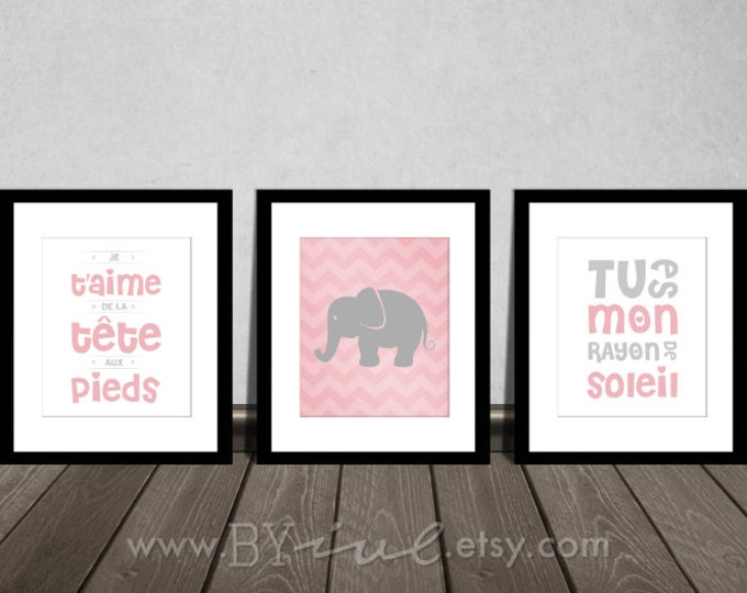Nursery french quote printable, chevron elephant, tu es mon rayon de soleil, Je t'aime de la tête aux pieds Downloadable. Print it yourself.