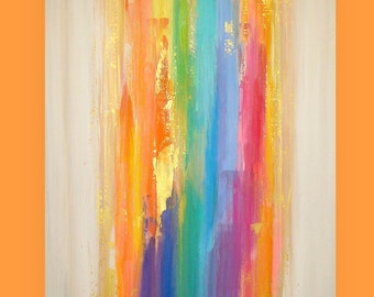 Art, Large Painting, Original Abstract, Acrylic Paintings on Canvas by Ora Birenbaum Titled: Waterfall 17 30x40x1.5""