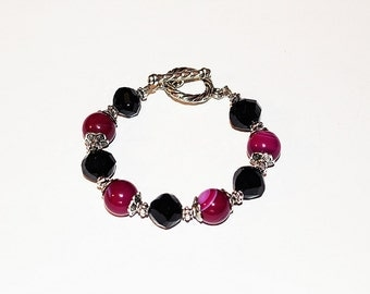 Agate and Glass Bracelet