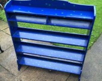 Midnight Blue And Teal Upcycled Bookshelf