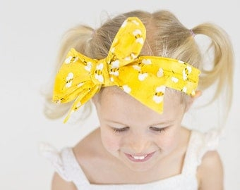 Big Bow Headband - Toddler Headwrap - Bumble Bee Bow - Baby Headband - Toddler Headband - Baby Headwrap - Bee Bow - Yellow Bow - Black Bow