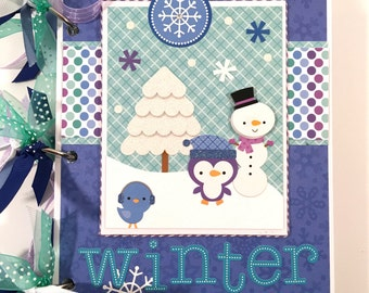Winter Mini Album Pre-made Scrapbook Snow Snowman
