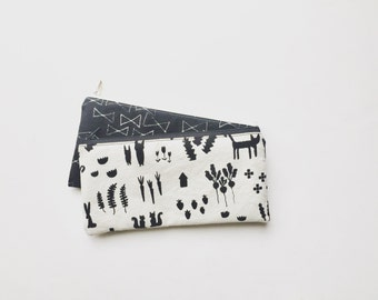 Black and White Pencil Case, Cute Pencil Case, Zipper Pouch, Cosmetic Pouch, Back to School