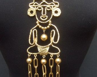 Exotic Massive Tribal Figure Pendant Statement Necklace