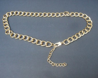 Sleek Wide Heavy Gilt Metal Chain Link Belt