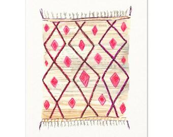 Moroccan Rug Watercolor Art Print. Boho Wall Art.  Watercolor Art.  Colorful Wall Art.  Pink Watercolor Rug.  Bohemian Art.  Boho Chic Decor