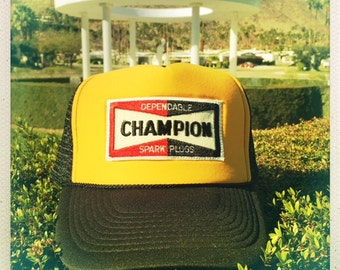 Dependable CHAMPION Spark Plugs Vintage 70s Patch stitched on Snapback Trucker Cap / Hat
