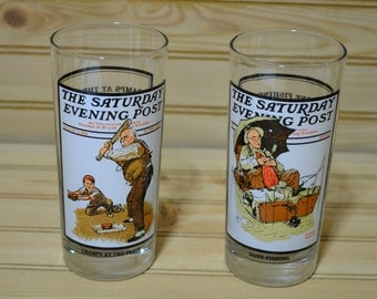 Vintage Saturday Evening Post Glasses 1987 Gramps At the Plate Gone Fishing Arbys  Summer Scenes Collection Soda Tea Water Promotional