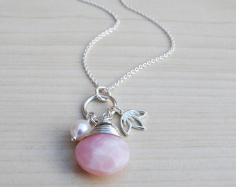 Pink Opal & Cherry Blossom Necklace - Sterling Silver