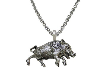 Charging Wild Boar Pendant Necklace