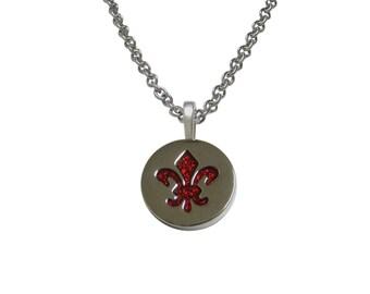 Red and Silver Fleur de Lys Pendant Necklace