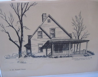 Vintage Pack of Note Cards  Pen and Ink Drawing C. M. Russell Home Great Falls Montana