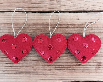 Petite Felt Heart Ornaments (set of 3)